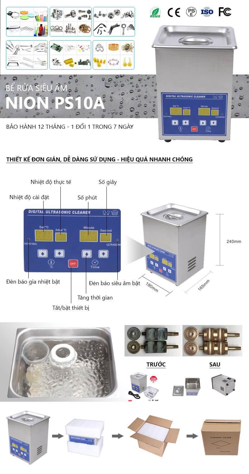 Bể rửa siêu âm Nion PS-10A chính hãng, làm sạch nhanh